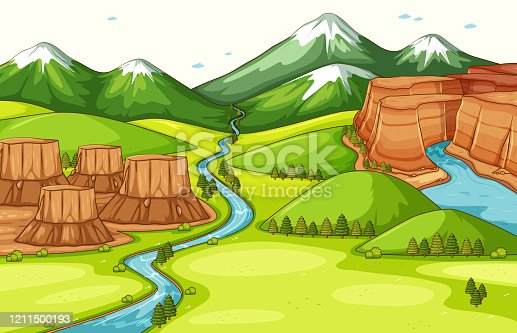istock Nature scene background with different parts of landforms 1211500193