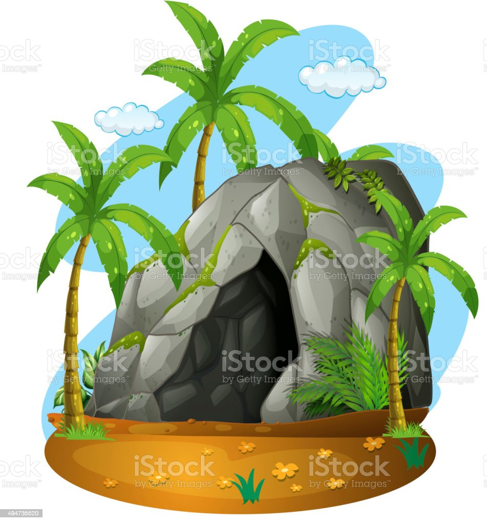 Charming Nature Scene Cave Coconut Trees Vector Art Illustration