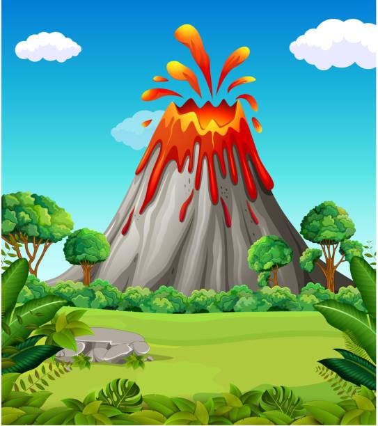 natur szene der vulkan vulkanausbruch - vulkane stock-grafiken, -clipart, -cartoons und -symbole