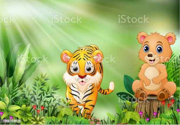 Nature scene with a bear sitting on tree stump and tiger vector id1066764816?b=1&k=6&m=1066764816&s=612x612&h=lk0csxinxyexlcv9 ndtqicndniyacoteo eqitdlsa=