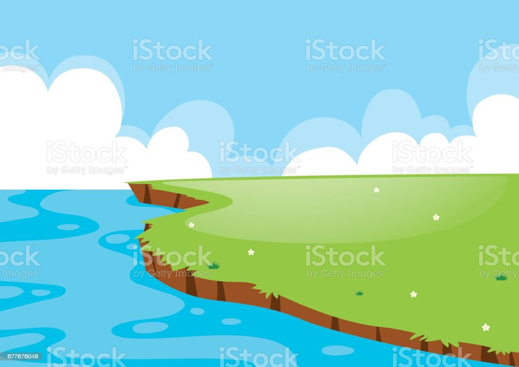 Nature scene with field and lake vector art illustration