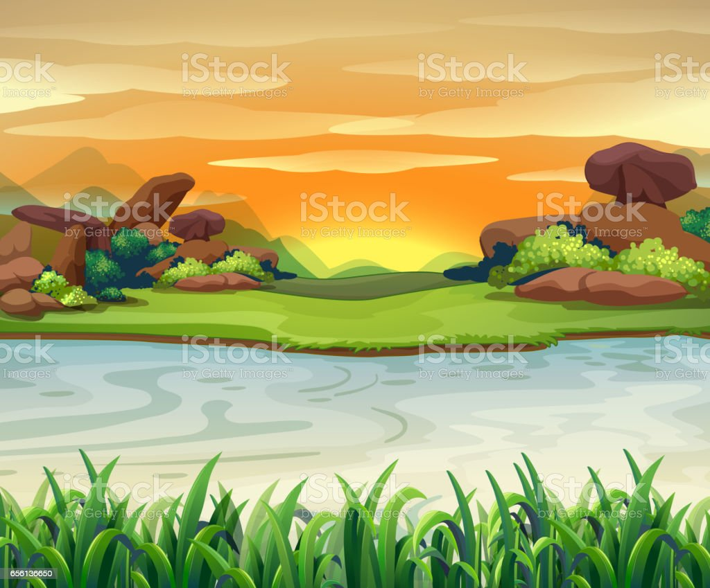 Nature scene with river flows vector art illustration