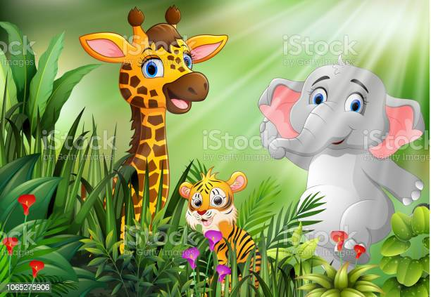 Nature scene with wild animals cartoon vector id1065275906?b=1&k=6&m=1065275906&s=612x612&h=we2vos5clz48cldlafg7fcbdzkn7z nftcux8be3sva=