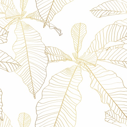 Nature seamless pattern. Hand drawn abstract tropical summer background: palm tree leaves in silhouette, line art. Golden line illustration.