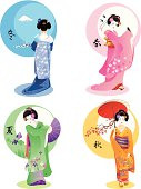 The vector illustration of four young woman in Japanese traditional dress as symbols of nature seasons.