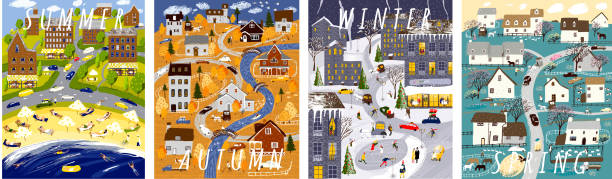 Nature. Set of posters for winter, spring, summer and autumn. Cute vector illustration of four seasons. Drawings of city, house, village, people, nature, trees, park and beach vector art illustration