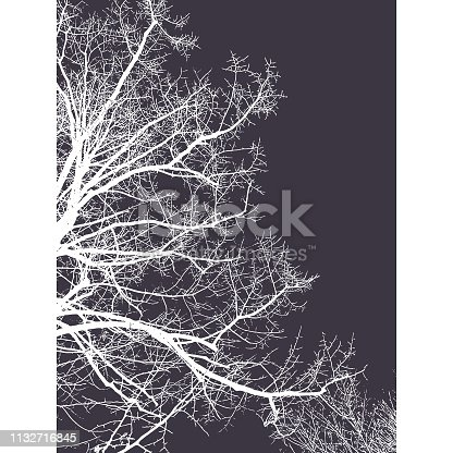 Vector illustration of a nature silhouette background. Flat and minimal colors and a pencil drawing style on the silhouette.