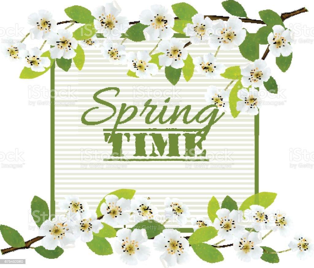 Kiraz çiçekleri ile Doğa bahar arka plan. Vektör. royalty-free kiraz çiçekleri ile doğa bahar arka plan vektör stok vektör sanatı & arka plandaki kişiler'nin daha fazla görseli