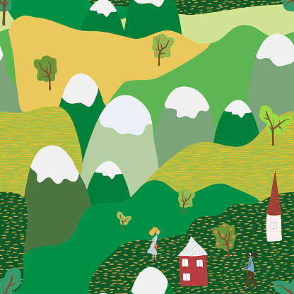 Nature spring or summer landscape colorful seamless pattern. Vector illustration of natural, rustic background. Flat cartoon style. For poster, banner, card, brochure, cover, fabric