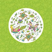 Seamless spring floral background with butterflies and birds.