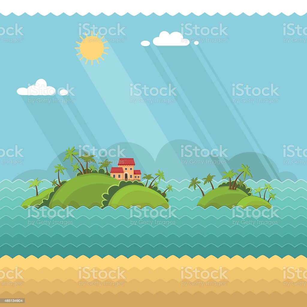 Nature Summer Vacation Holiday Tropical Ocean Island With Palm Tree vector art illustration