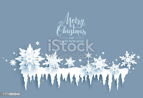 Winter holiday realistic paper cut snowflakes and icicles. Snow christmas decoration for design banner, ticket, invitation, greetings, leaflet and so on. Nature symbol banner.