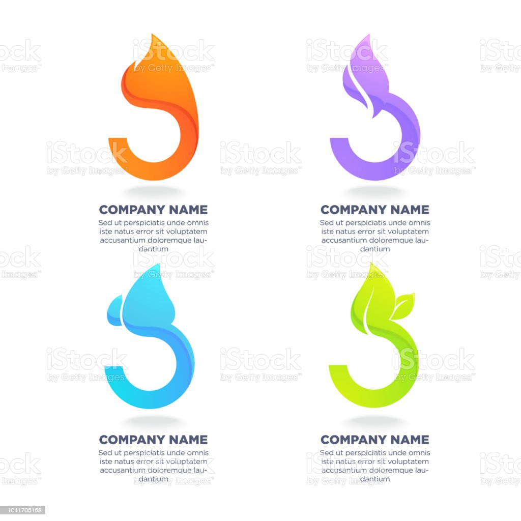 Nature Symbols Four Elements For Your Logo Labels Emblems