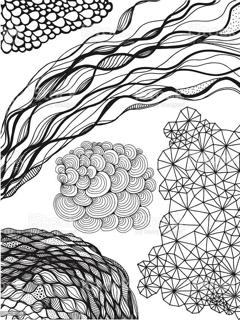 Nature themed seamless doodle backgrounds isolated on white royalty-free stock vector art