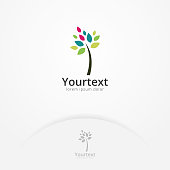 Nature tree logo. Creative logo of tree with simple colorful leaves, Symbol of nature and environment. Beauty nature logo template