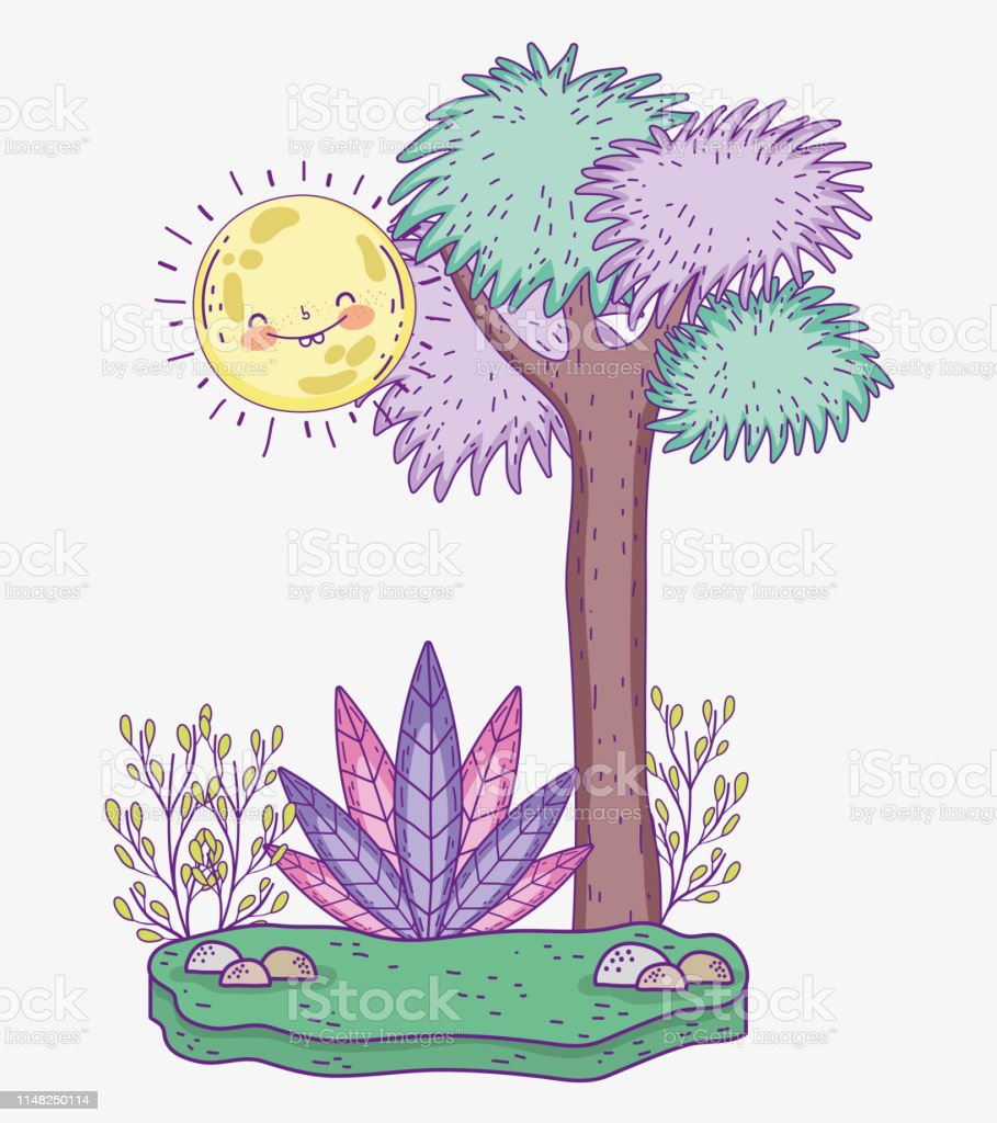 Nature Tree With Sun And Plants With Leaves Stock Illustration