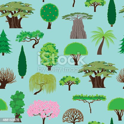 Vector Illustraton of a fantastic set of nature trees in a pattern background seamless