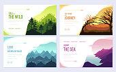 Nature vector brochure cards set. Ecology template of flyer, web banner, ui header, enter site. Outdoor invitation concept background. Layout illustration modern slider page background