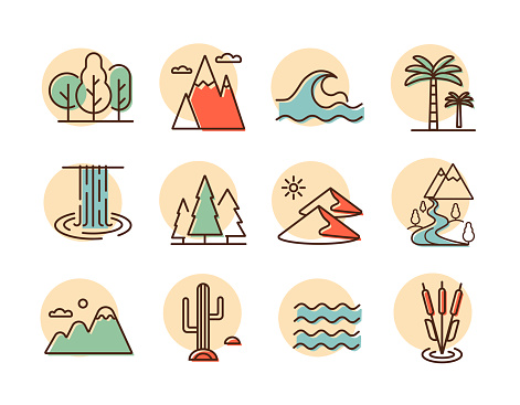 Nature vector icons set. Landscape sign
