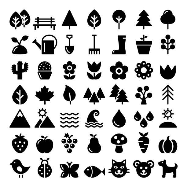 bildbanksillustrationer, clip art samt tecknat material och ikoner med naturen vektor ikoner set, park, utomhus djur, ekologi, ekologisk matdesign - storpack - hund skog