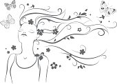 abstract beautiful girl in floral pattern