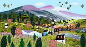 istock Nature. Vector illustration of a summer and spring landscape, mountains, trees, forest, houses, church, chapel and village. Drawing of a European village and a village for a poster or background 1219032009