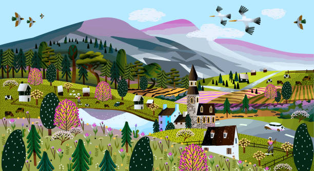 ilustrações de stock, clip art, desenhos animados e ícones de nature. vector illustration of a summer and spring landscape, mountains, trees, forest, houses, church, chapel and village. drawing of a european village and a village for a poster or background - passagem de ano