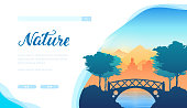Nature vector landing page template. Peaceful minimalistic landscape illustration. Recreation, holiday vacation. Travel agency, tour operator web banner design. Environment protection
