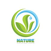 Nature - vector logo template concept illustration in flat graphic design style. Green leaves, blue water drop and abstract shapes. Clean ecology creative sign.