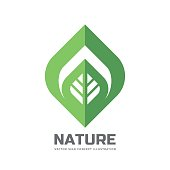 Nature vector logo template concept illustration in flat style. Green leaf creative sign. Design element.