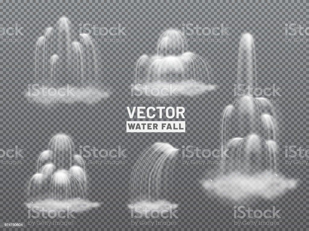 Natureza vista com água caindo das colinas. Conceito de dia ensolarado. - ilustração de arte em vetor