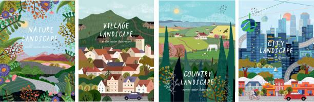 自然、村莊、鄉村、城市景觀。海報、橫幅、卡片、摺頁冊或封面的自然、城市和鄉村背景的向量插圖。 - 大自然 幅插畫檔、美工圖案、卡通及圖標