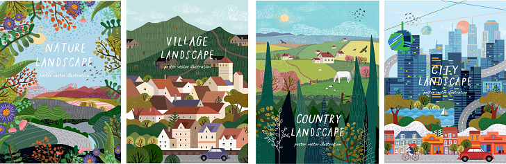 Nature Village Country City Landscapes Vector Illustration Of Natural Urban And Rustic Background For Poster Banner Card Brochure Or Cover Stock Illustration - Download Image Now
