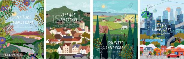 Nature Village Country City Landscapes Vector Illustration Of Natural Urban And Rustic Background For Poster Banner Card Brochure Or Cover - Arte vetorial de stock e mais imagens de Agricultura