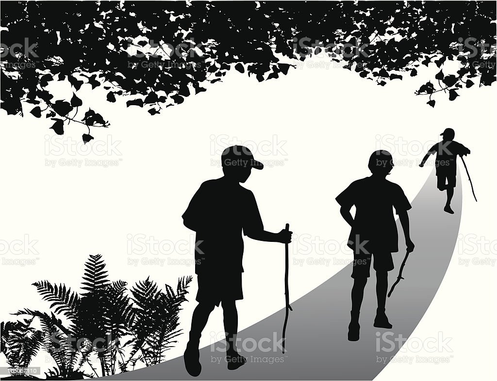 Nature Walk Vector Silhouette royalty-free stock vector art