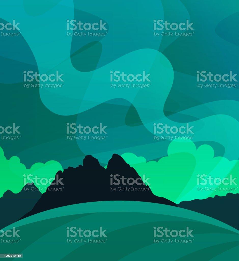 スカンジナビアの極自然のイラスト夜にオーロラと自然壁紙 アラスカ