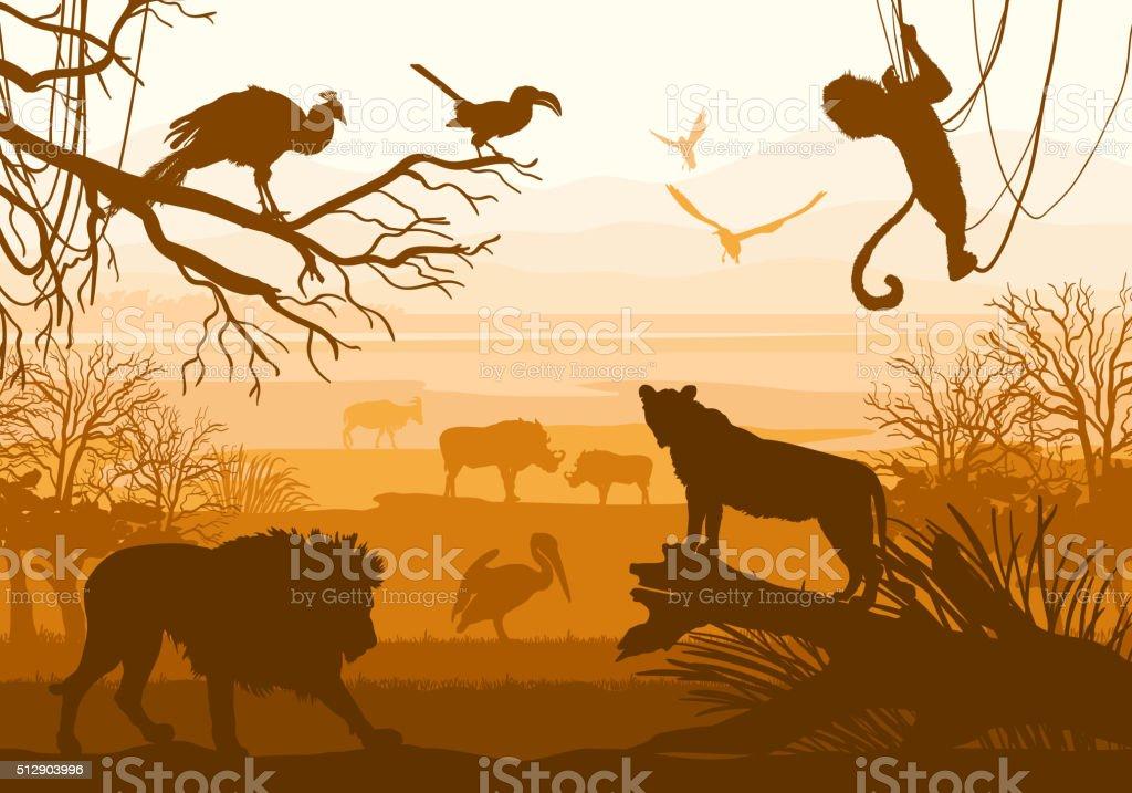Natura con animali selvatici (Leone, cinghiali, capra, Cormorano, scimmie, peacock, - illustrazione arte vettoriale