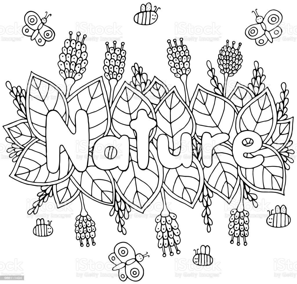 Doğa Word Sayfa Yetişkinler Ve çocuklar Için Boyama Doodle Karikatür
