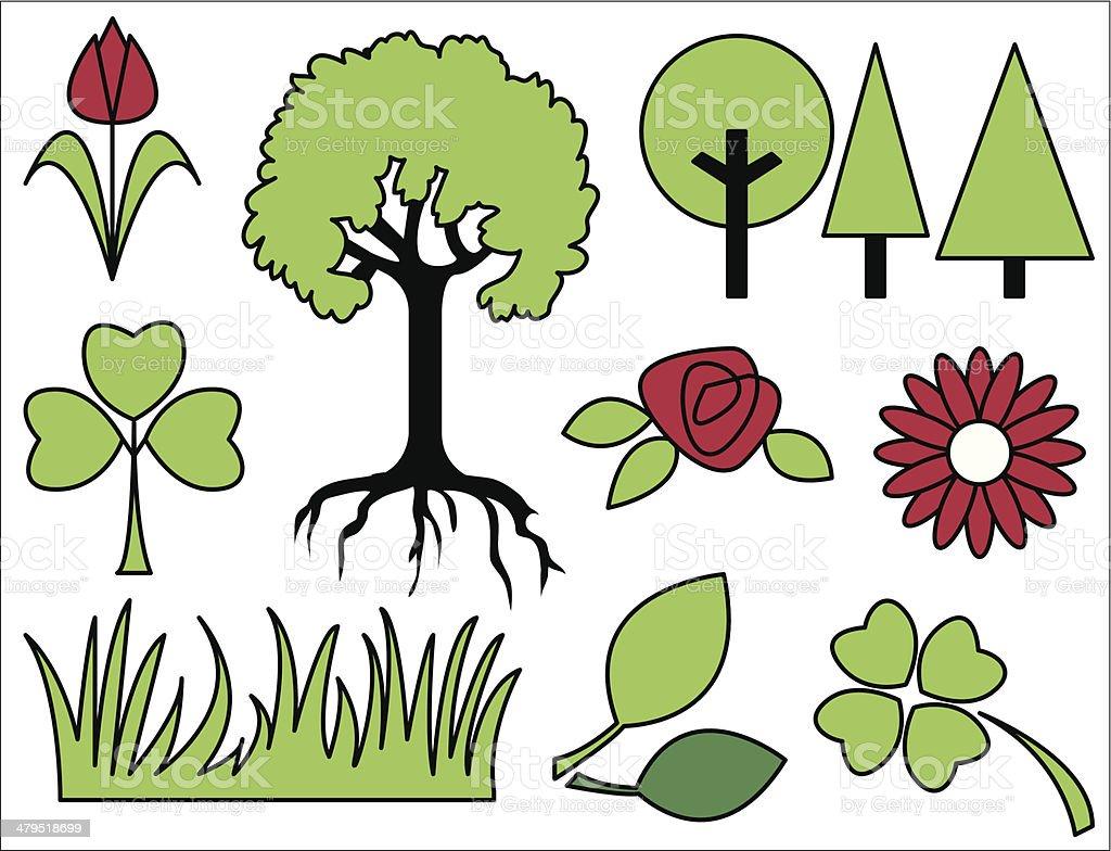 Nature/garden elements royalty-free naturegarden elements stock vector art & more images of clover