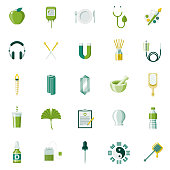 A set of 25 naturopathy and holistic healing flat design icons on a transparent background. File is built in the CMYK color space for optimal printing. Color swatches are Global for quick and easy color changes.