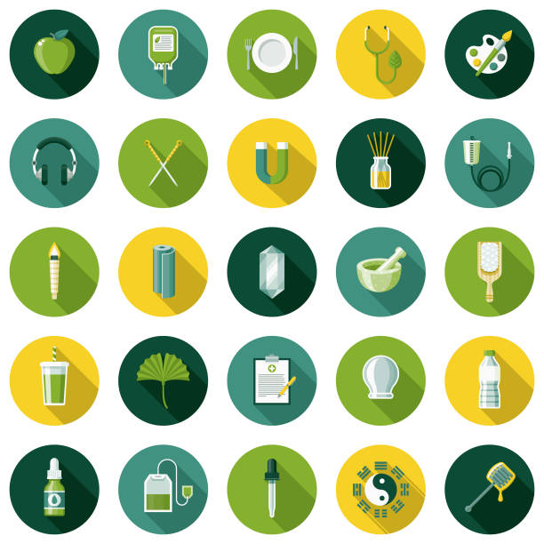 illustrations, cliparts, dessins animés et icônes de naturopathie design plat icon set avec côté ombre - acupuncture