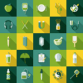 A set of flat design styled naturopathy and alternative treatment icons with a long side shadow. Color swatches are global so it's easy to edit and change the colors.