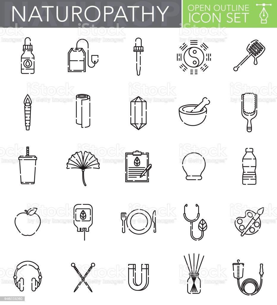 Naturheilkunde-offene Kontur-Icon-Set – Vektorgrafik