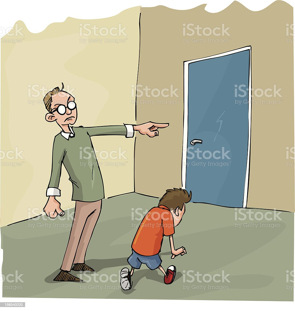 Naughty boy being sent to his room royalty-free stock vector art