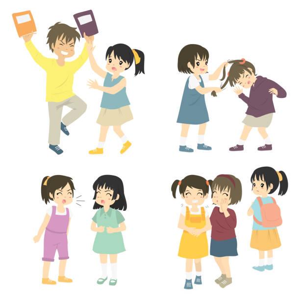 ilustrações de stock, clip art, desenhos animados e ícones de naughty kids bullying others, vector collection - puxar cabelos