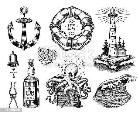 Nautical adventure set. Sea lighthouse, jellyfish and marine octopus and shipping sail, old sailor, ocean waves and lifebuoy. Hand drawn engraved old sketch