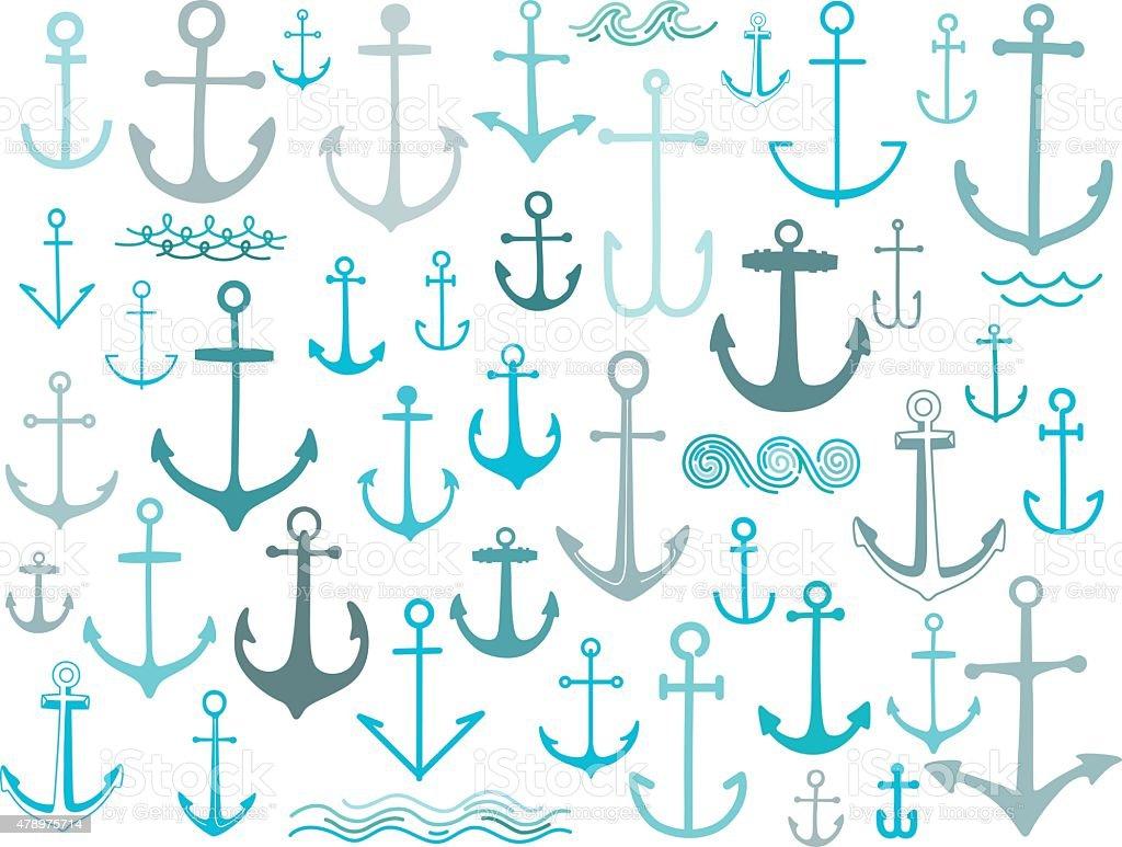Nautical anchor collection vector art illustration