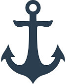 Nautical blue anchor isolated on white background. Vector