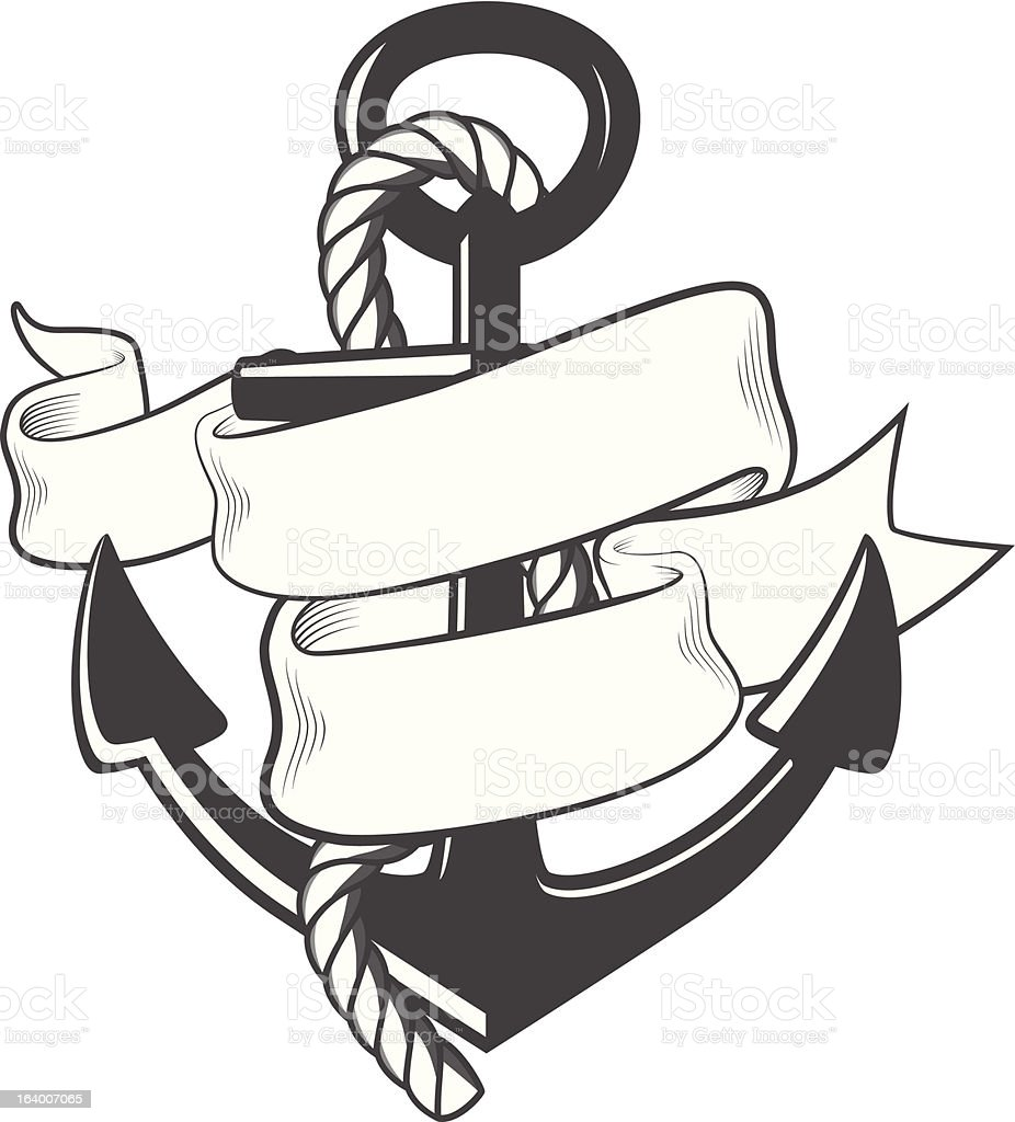 Nautical anchor with rope and ribbon vector art illustration