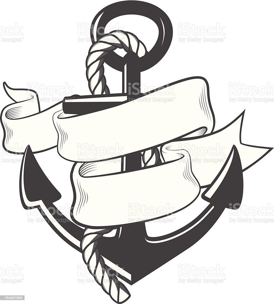 Nautische Anker mit Seil und Schleife – Vektorgrafik